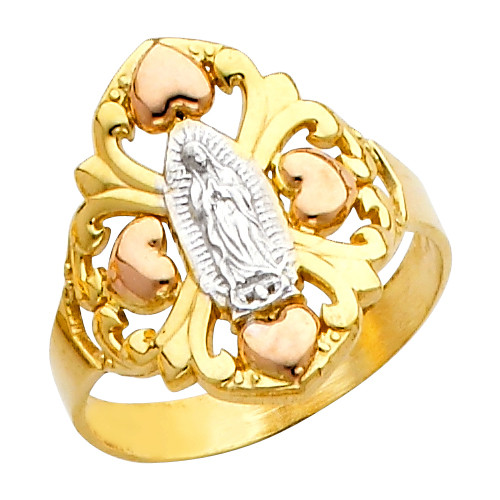 "Tri-Color ""Our Lady of Guadalupe/Nuestra Señora de Guadalupe"" Ring"