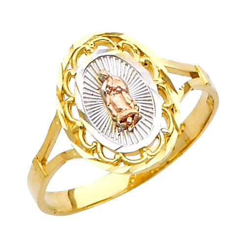 """Classic """"Our Lady of Guadalupe/Nuestra Señora de Guadalupe"""" Tri-Color Ring"""