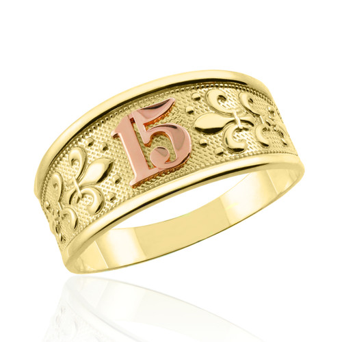 """Yellow Gold """"15 Anos""""  Ring"""