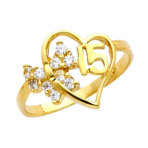 """Yellow Gold """"15 Anos"""" CZ  Ring"""