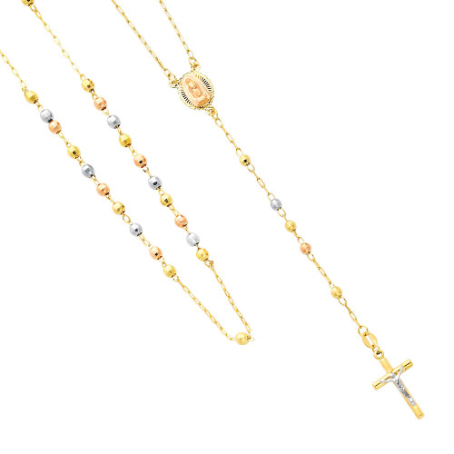 14K Tri-Color Gold Rosary Necklace - The Miraculous