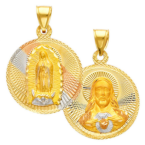 """Double Faced """"Our Lady of Guadalupe/Jesus Christ"""" Pendant- 1 Inch"""