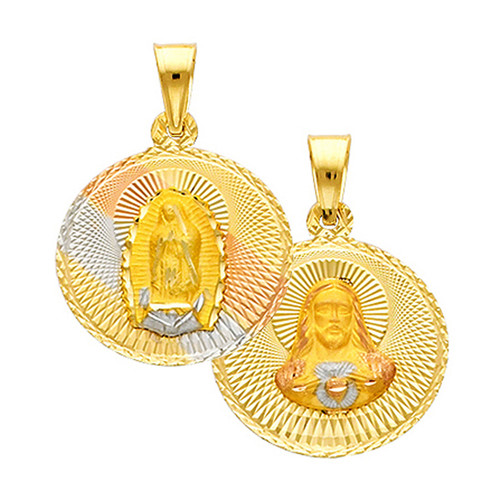 """Double Faced """"Our Lady of Guadalupe/Jesus Christ"""" Pendant- 0.75 Inch"""
