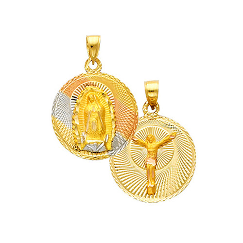 """Double Faced """"Our lady of Guadalupe/Crucifix"""" Pendant- 0.50 Inch"""