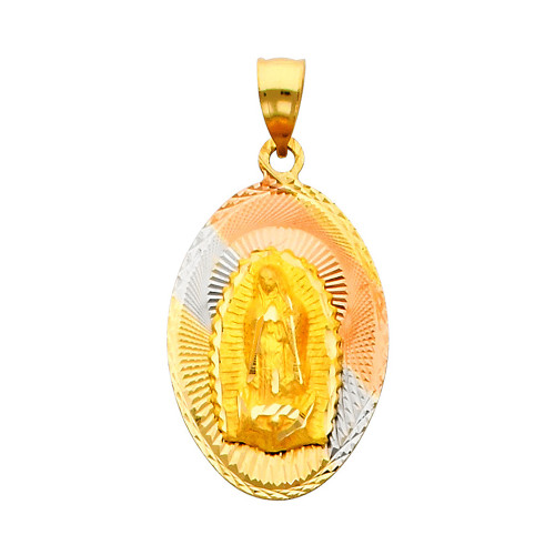 """Oval Shaped Tri Color """"Our Lady of Guadalupe"""" Pendant- 1.00 Inch"""