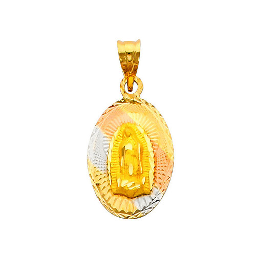 """Oval Shaped Tri Color """"Our Lady of Guadalupe"""" Pendant- 0.75 Inch"""