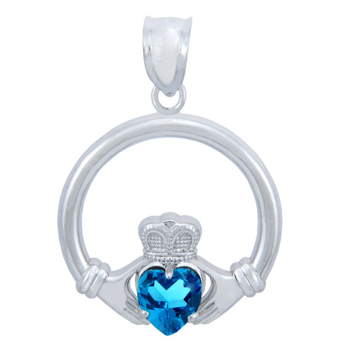 925 Sterling Silver Claddagh Pendant with Blue CZ Heart