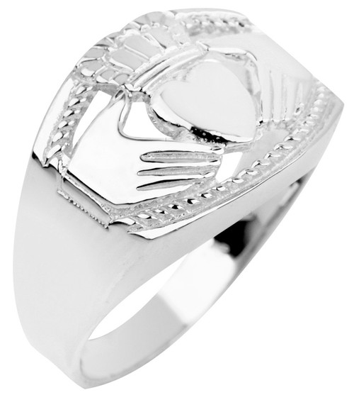 White Gold Claddagh Ring Mens Bold