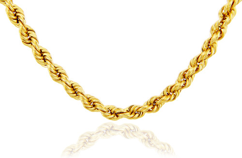 Rope Ultra Light Diamond Cut 10K Gold Chain 6mm