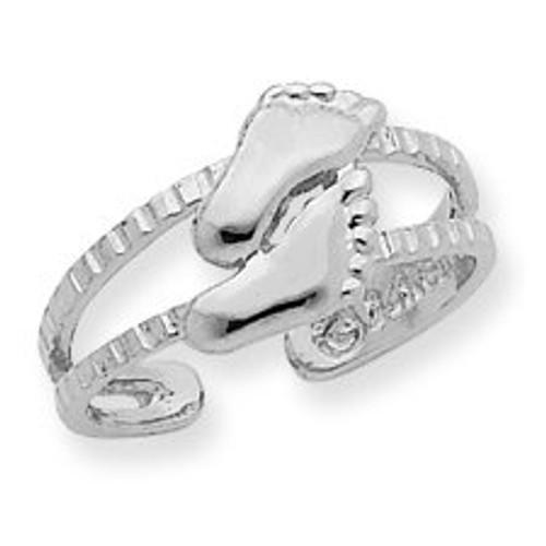 White Gold Feet Toe Ring