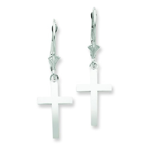 White Dangle Cross Leverback Earrings