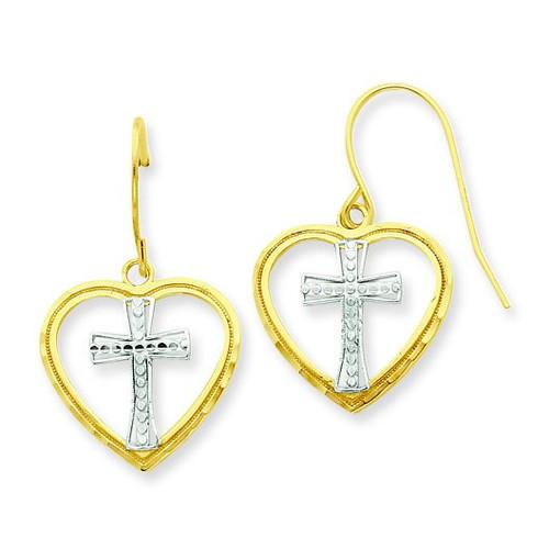 Rhodium Cross in Heart Wire Earrings