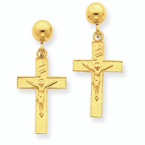 Polished INRI Crucifix Earrings