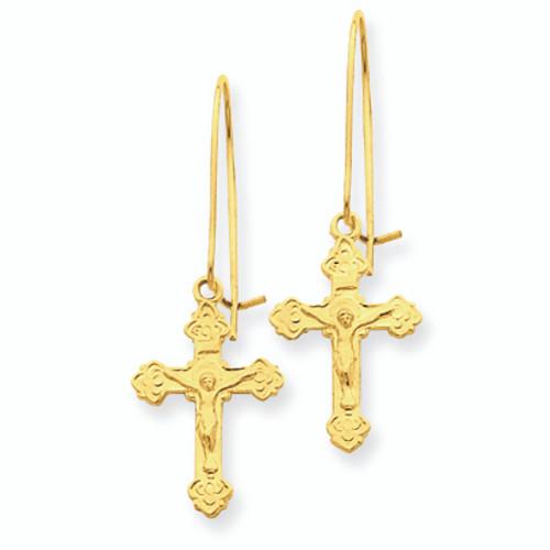 14K Polished INRI Crucifix Earrings