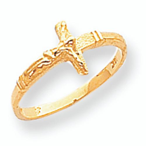 Polished Crucifix Baby Ring 14K