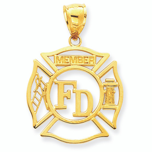14K Gold Open-Cut Fireman Badge Pendant