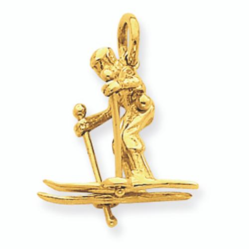 14K Gold Skier Pendant