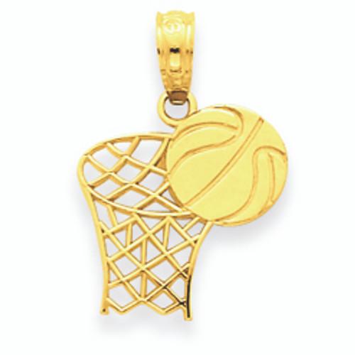 14K Gold Basketball Hoop and Ball Pendant