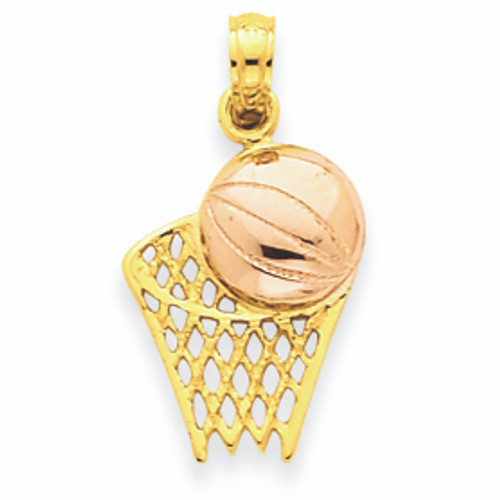 14K Two-tone Gold Basketball Hoop with Ball Pendant