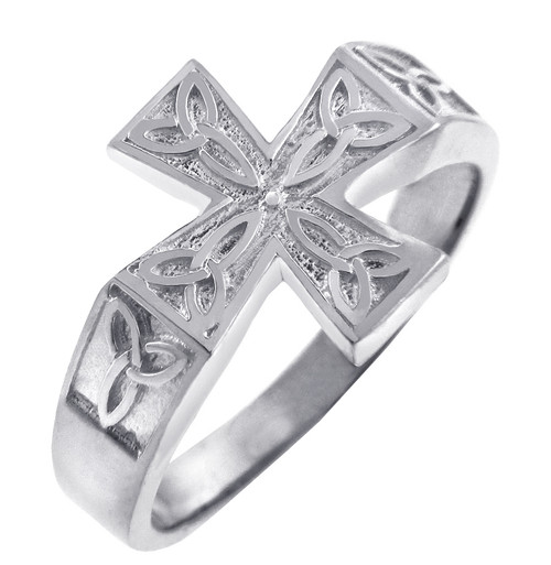 925 Sterling Silver Mens Celtic Band Trinity Cross Ring