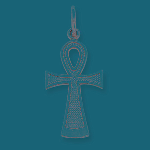 14K White Gold Ankh Cross