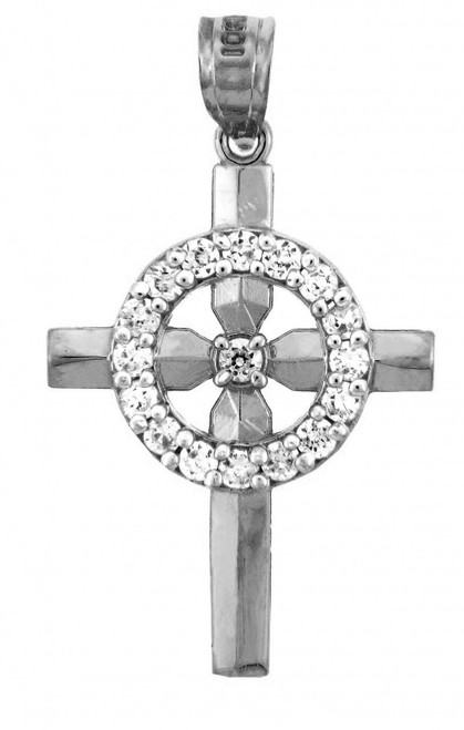 Religious Charms - The White Gold Eternity Cross Charm