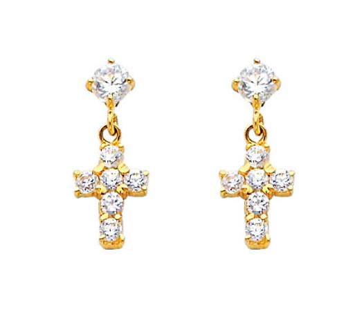 14K Cross Stud Earrings with Cubic Zirconia