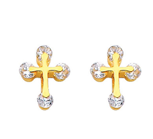 14K Gold CZ Cross of Light Stud Earrings