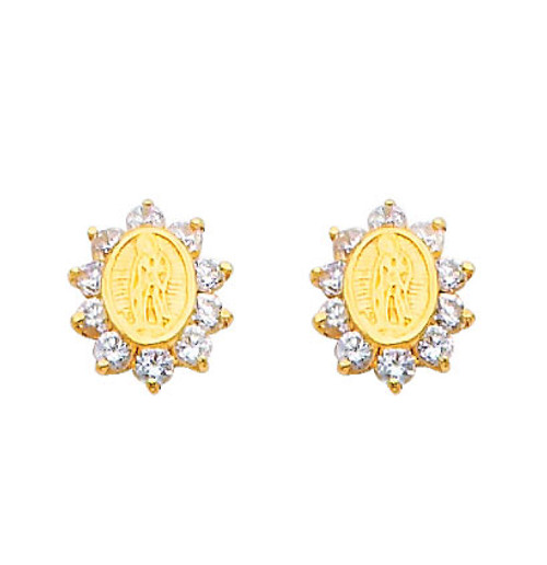 14K Gold Lady of Guadalupe CZ Stud Earrings