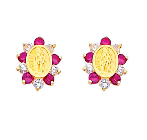 14K Gold Lady of Guadalupe CZ and Ruby Stud Earrings