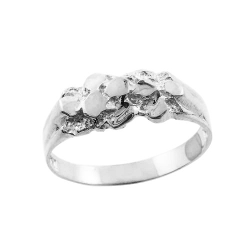 White Gold Nugget Baby Ring