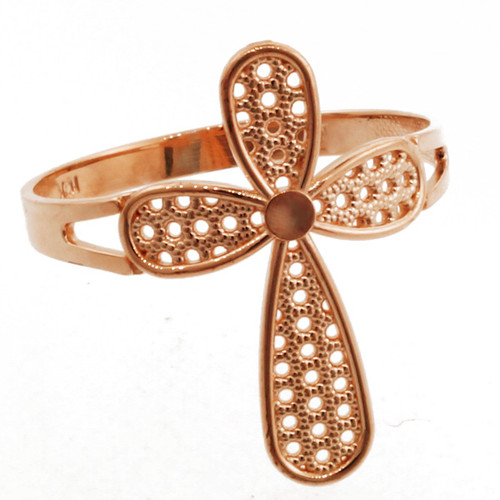 Rose Gold Orbicular Cross Ring