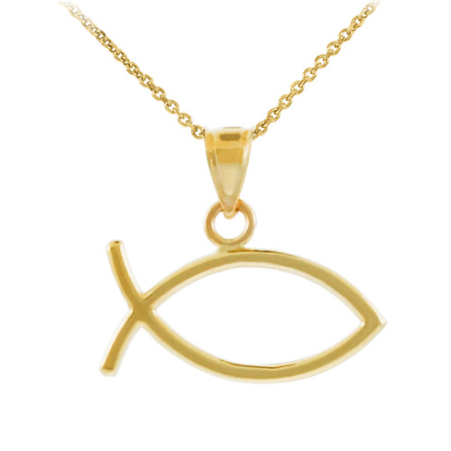 Yellow Gold Ichthus Fish Horizontal Pendant Necklace
