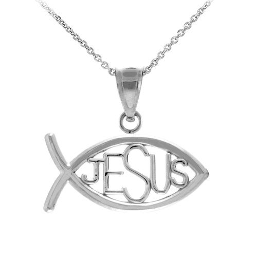925 Sterling Silver Ichthus JESUS Inscribed Horizontal Pendant Necklace
