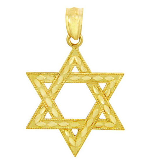 Gold Jewish Star of David Charm Pendant (S) 1-inch