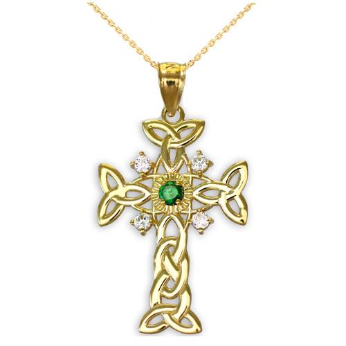 Gold Celtic Knot Trinity Cross Diamond Pendant Necklace with Genuine Emerald