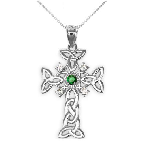 White Gold Celtic Knot Trinity Cross Diamond Pendant Necklace with Genuine Emerald