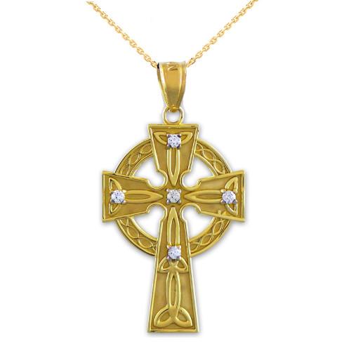 Solid Gold Celtic Trinity Cross Diamond Pendant Necklace