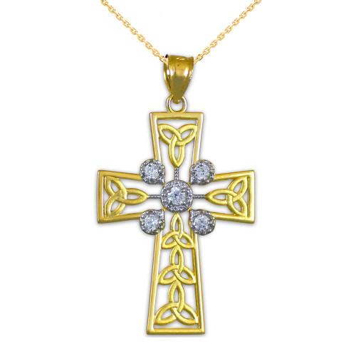 Gold Celtic Cross Trinity Knot Diamond Pendant Necklace