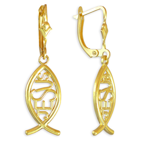 "Gold Ichthus ""JESUS"" Earrings"