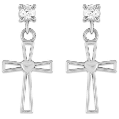 Sterling Silver Heart Cross CZ Post Earrings