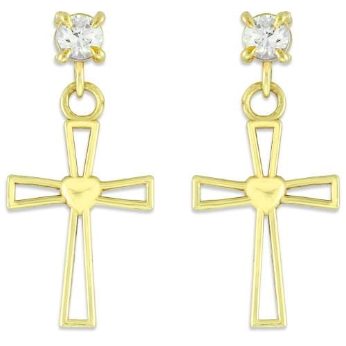 Gold Heart Cross CZ Post Earrings