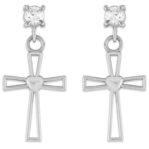 White Gold Heart Cross CZ Post Earrings