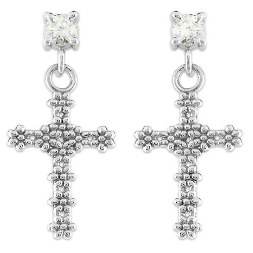 Sterling Silver Flower Cross CZ Post Earrings