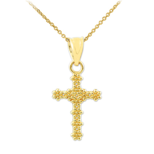 Gold Floral Cross Charm Pendant Necklace