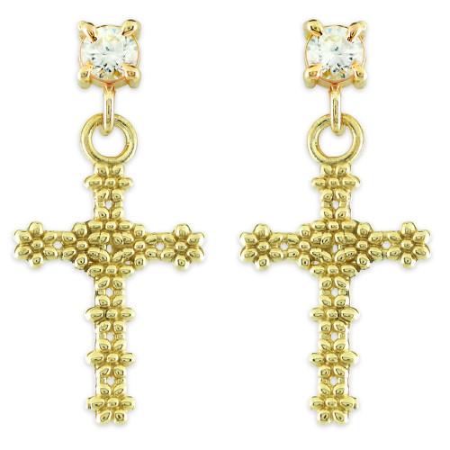 Gold Floral Cross CZ Post Earrings