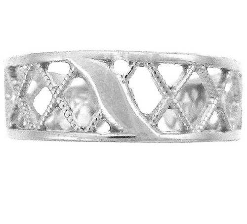 925 Sterling Silver Cross Hatch Toe Ring