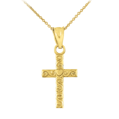 Gold Twirl Cross Charm Pendant Necklace
