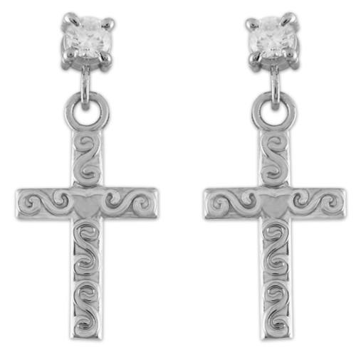Sterling Silver Twirl Cross CZ Post Earrings