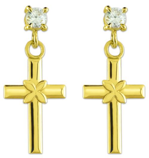Gold Four Leaf Clover Cross CZ Post Earrings